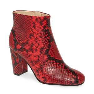 NEW Vince Camuto Red Snake Print Leather Bootie